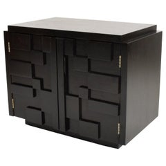 Intricate Black Brutalist Mosaic Nightstand Ebonized Walnut Lane Altavista 1970s