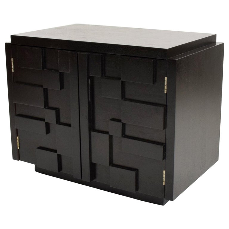 Intricate Black Brutalist Mosaic Nightstand Ebonized Walnut Lane Altavista 1970s For Sale
