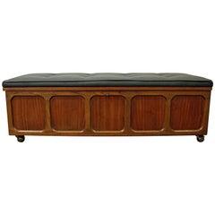 Mid-Century Modern Lane Furniture Cedar Blanket Chest Bench on Wheels