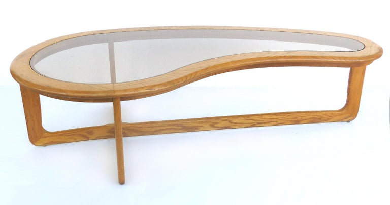 American Mid-Century Modern Lane Kidney Shaped Boomerang Walnut and Glass Coffee Table For Sale