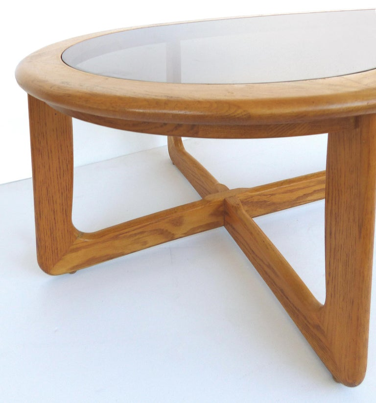 Mid-20th Century Mid-Century Modern Lane Kidney Shaped Boomerang Walnut and Glass Coffee Table For Sale