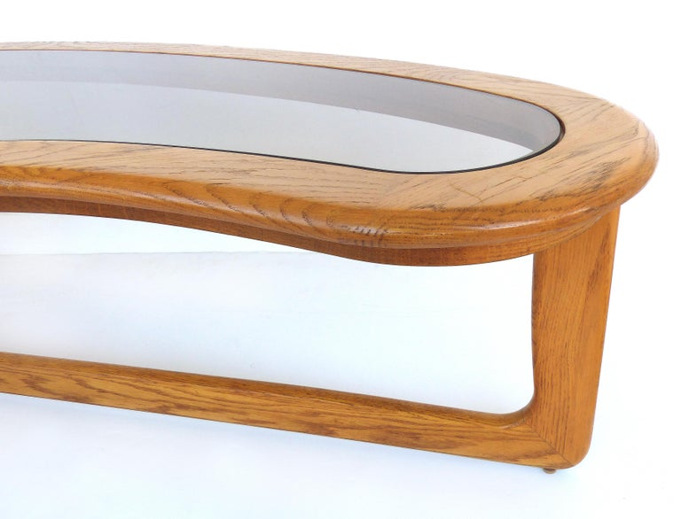 Mid-Century Modern Lane Kidney Shaped Boomerang Walnut and Glass Coffee Table For Sale 2
