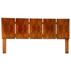 Mid-Century Modern Lane Milo Baughman Style Burl Wood King Headboard