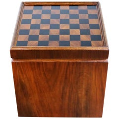Mid-Century Modern Lane Rolling Cube Storage Ottoman Table, Game Board Flip Top