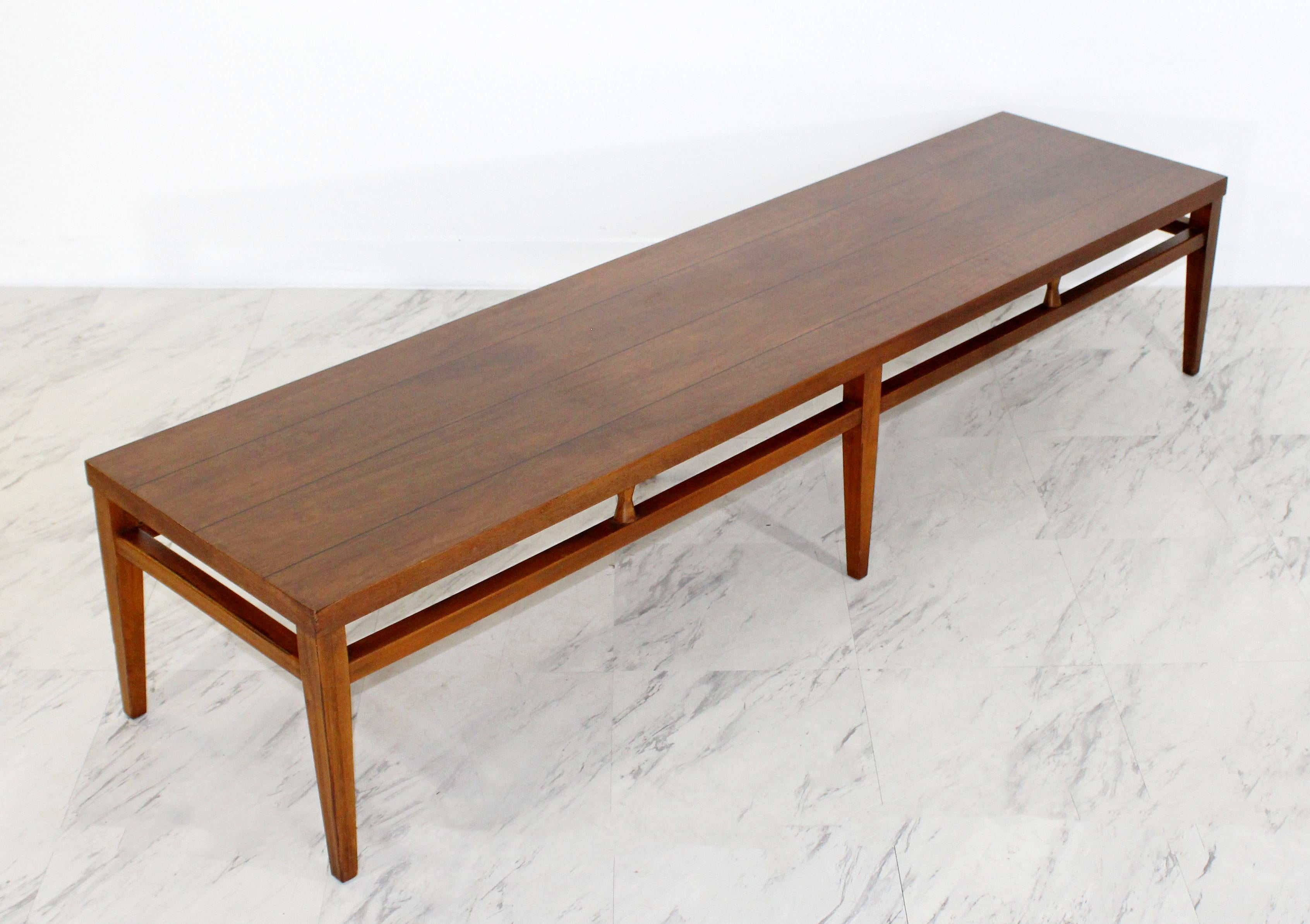 Mid Century Modern Lane Tuxedo Long Low Coffee Table Bench, 1960s