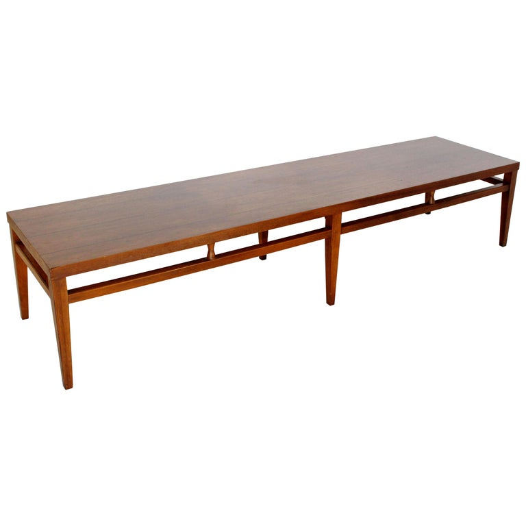 Mid-Century Modern Lane Tuxedo Long Low Coffee Table Bench