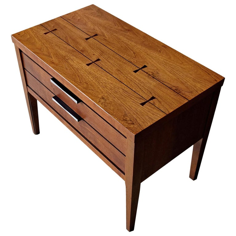 Mid-Century Modern Lane Tuxedo Rosewood Bow Tie Nightstand End Table For Sale