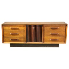 Mid-Century Modern Lane Walnut and Rosewood Triple Dresser with Mirrors