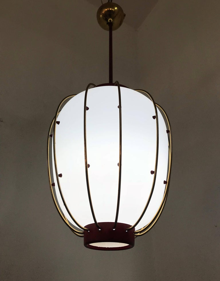 3 Mid-Century Modern Lantern in Brass and Opaline Glass, 1950, Stilnovo attr. In Good Condition In Merida, Yucatan