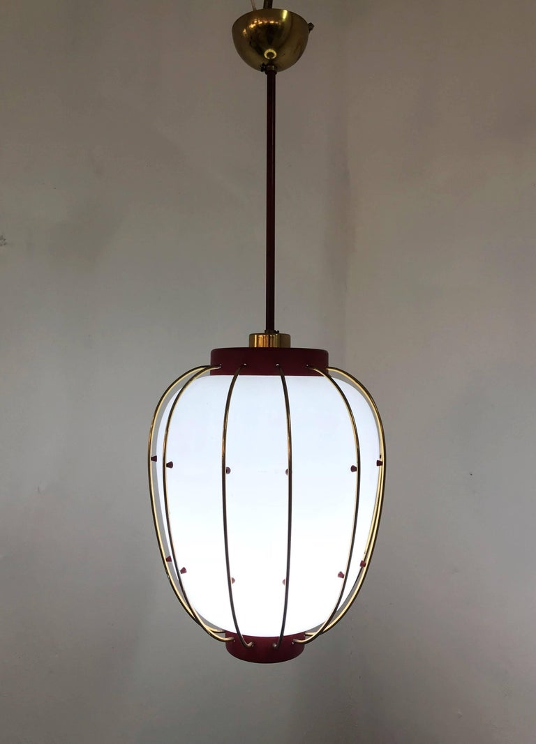 Mid-20th Century 3 Mid-Century Modern Lantern in Brass and Opaline Glass, 1950, Stilnovo attr.