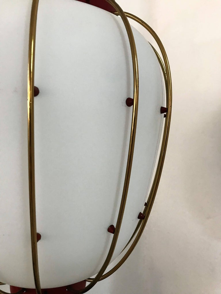 3 Mid-Century Modern Lantern in Brass and Opaline Glass, 1950, Stilnovo attr. 1
