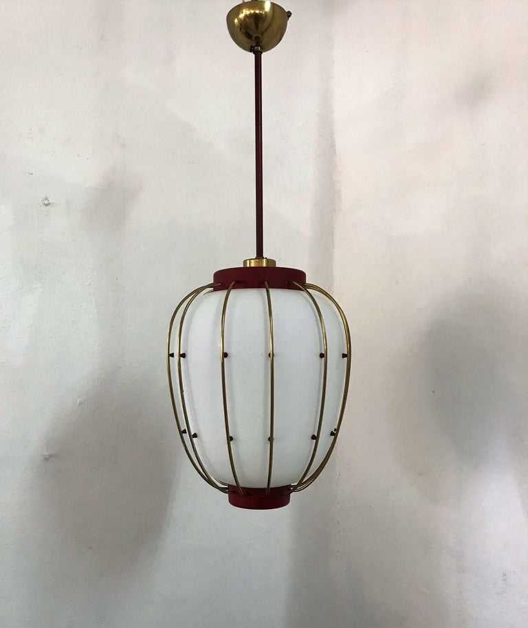3 Mid-Century Modern Lantern in Brass and Opaline Glass, 1950, Stilnovo attr. 3