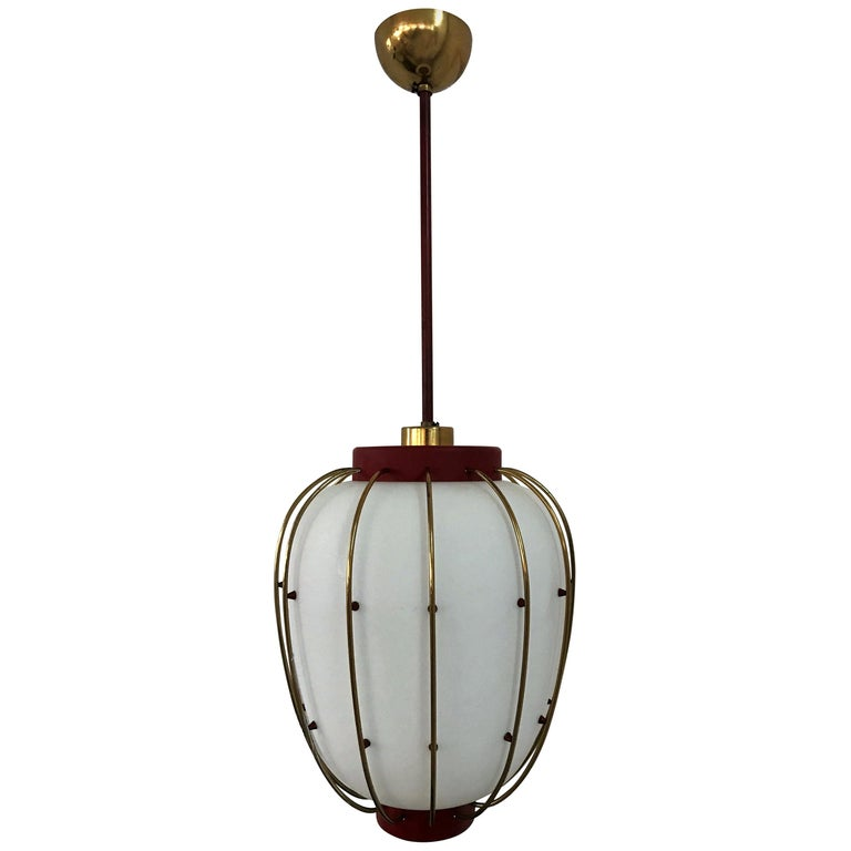 3 Mid-Century Modern Lantern in Brass and Opaline Glass, 1950, Stilnovo attr.