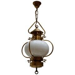 Mid-Century Modern Lantern in Brass and Opaline Glass