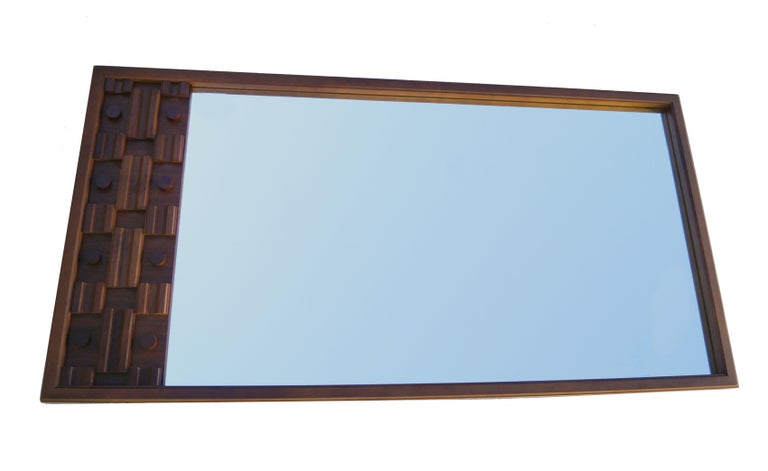Mid-Century Modern Large Brutalist Long Sculpted Mirror In Good Condition For Sale In Wayne, NJ
