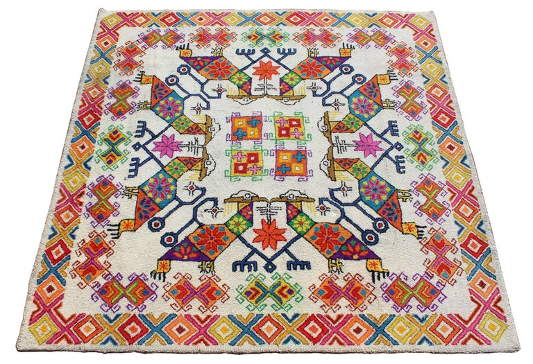 For your consideration is a fabulously vibrant and colorful tribal Mexican large 8.5 x 8.5 square area rug or carpet, signed but signature is faded. In excellent condition. The dimensions are 103