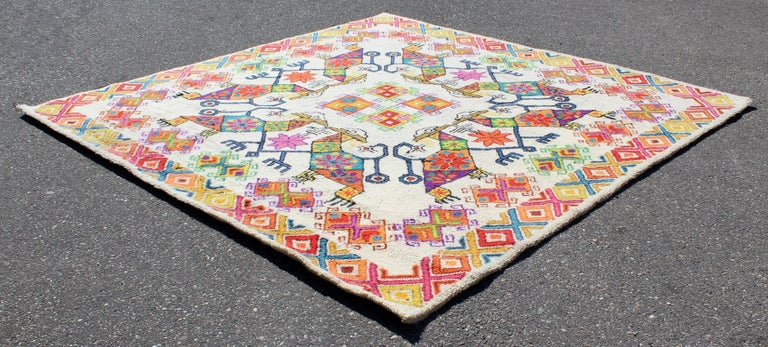 North American Mid-Century Modern Large Boho Tribal Colorful Mexican Area Rug Carpet For Sale