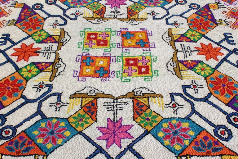 Mid-Century Modern Large Boho Tribal Colorful Mexican Area Rug Carpet In Good Condition For Sale In Keego Harbor, MI