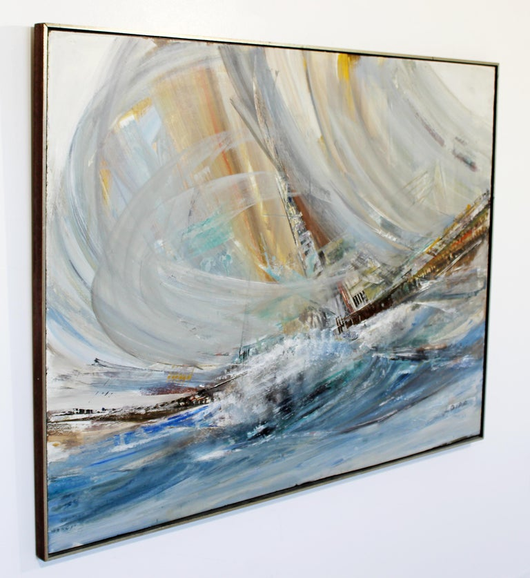 For your consideration is a mesmerizing, large, framed, abstract nautical acrylic impasto painting, signed by Laszlo Biro. In excellent condition. The dimensions are 49