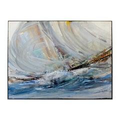 Mid-Century Modern Large Abstract Nautical Acrylic Impasto Painting L. Biro