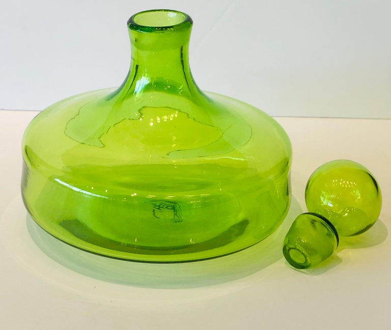 Mid-Century Modern Large Blenko Style Blown Glass Chartreuse Green Decanter with Large Ball Stopper For Sale