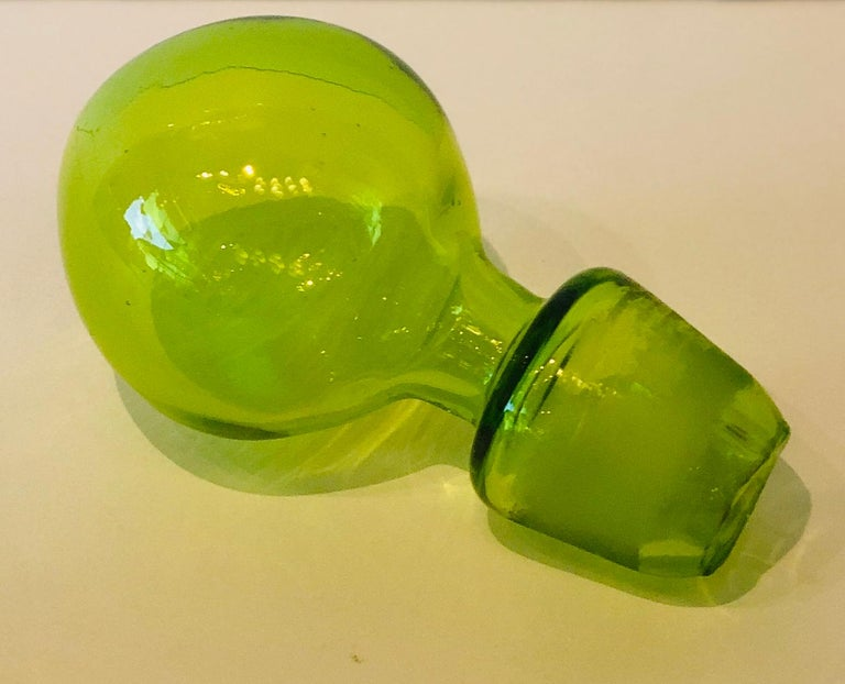 Large Blenko Style Blown Glass Chartreuse Green Decanter with Large Ball Stopper For Sale 9