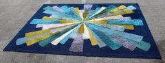 Mid Century Modern Large Blue Hi Pile Low Pile Rectangular Starburst Rug Carpet
