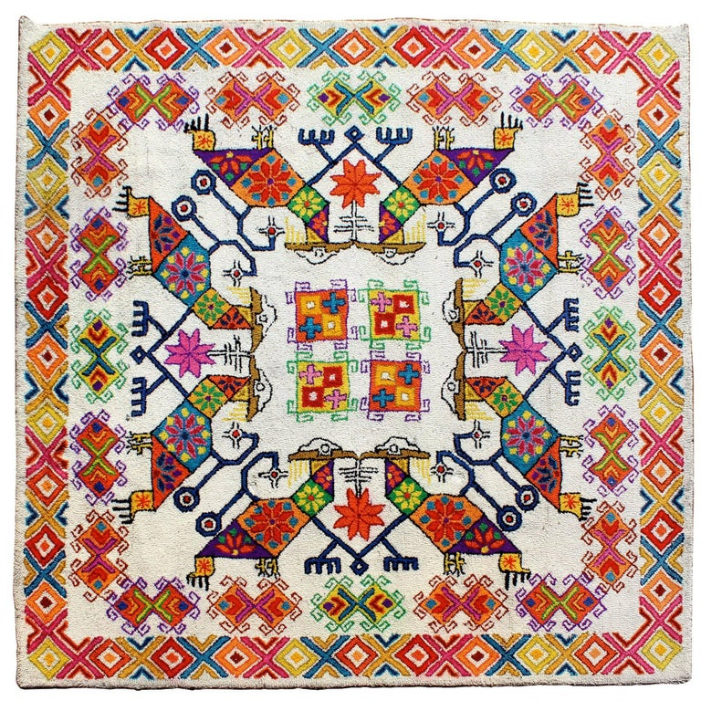 Mid-Century Modern Large Boho Tribal Colorful Mexican Area Rug Carpet For Sale