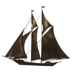 Mid-Century Modern Large Brass Brutalist Tall Ship Style of Curtis Jere