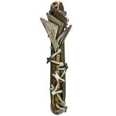 Mid-Century Modern Large Brutalist Hand Forged Iron Jewish Judaica Mezuzah