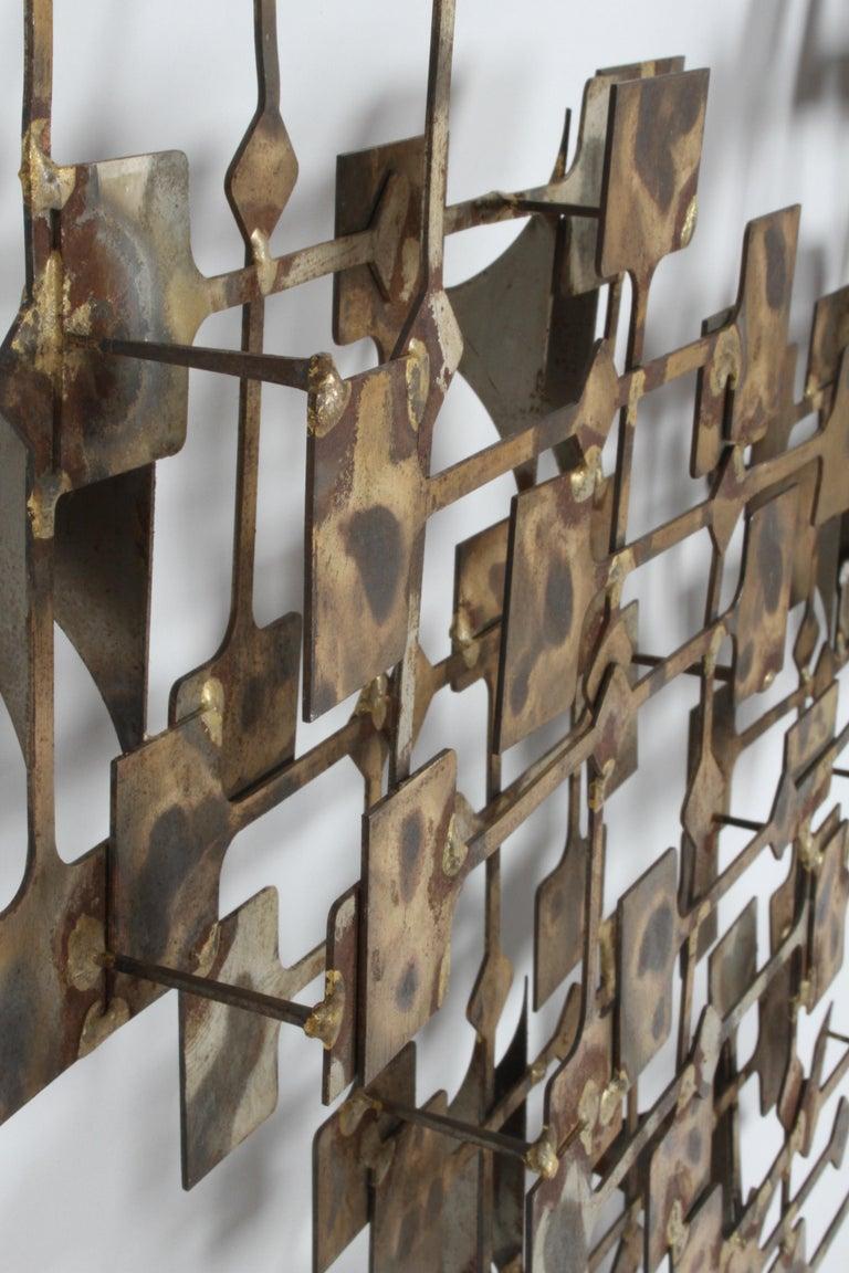 Mid-Century Modern Large Brutalist Nail Wall Sculpture by Artist Marc Weinstein For Sale 5