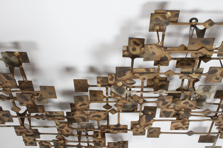 American Mid-Century Modern Large Brutalist Nail Wall Sculpture by Artist Marc Weinstein For Sale