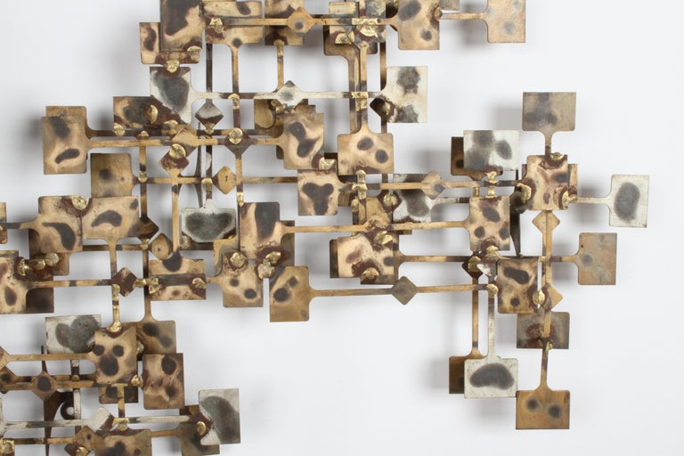 Mid-Century Modern Large Brutalist Nail Wall Sculpture by Artist Marc Weinstein In Good Condition For Sale In St. Louis, MO