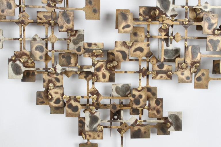 Late 20th Century Mid-Century Modern Large Brutalist Nail Wall Sculpture by Artist Marc Weinstein For Sale
