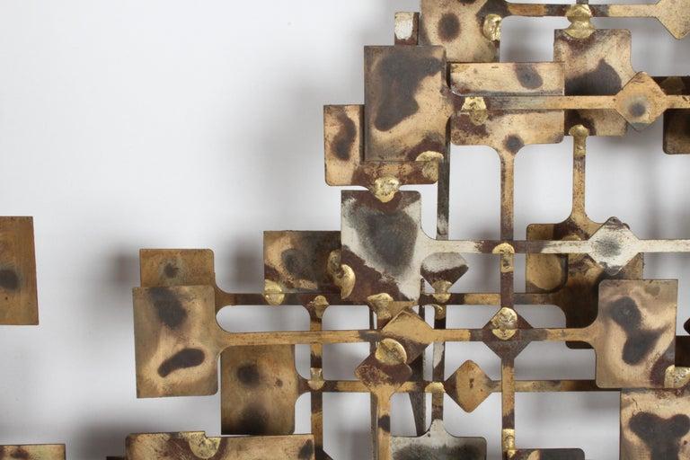 Metal Mid-Century Modern Large Brutalist Nail Wall Sculpture by Artist Marc Weinstein For Sale