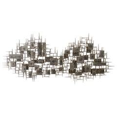 Mid-Century Modern Large Brutalist Nail Wall Sculpture by Artist Marc Weinstein