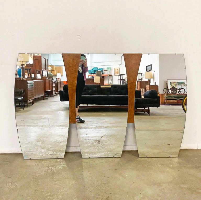 American Mid-Century Modern Large Burl Wood Mirror For Sale