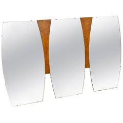 Mid-Century Modern Large Burl Wood Mirror