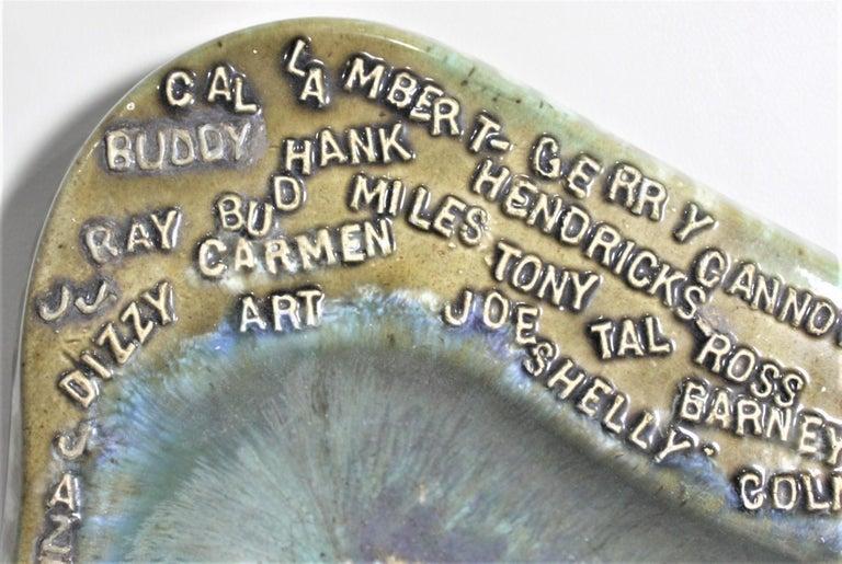 Glazed Mid-Century Modern Large Ceramic Holland Molds Jazz Musician Inspired Ashtray For Sale