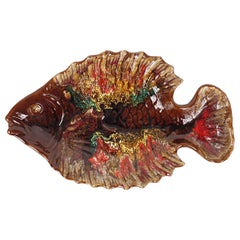 Mid-Century Modern Large Ceramic Plate in the Shape of a Fish by Vallauris