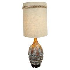 Mid-Century Modern Large Ceramic Table Lamp Original Shade & Finial, 1960s