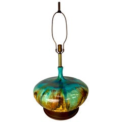 Mid-Century Modern Large Drip Glaze Table Lamp