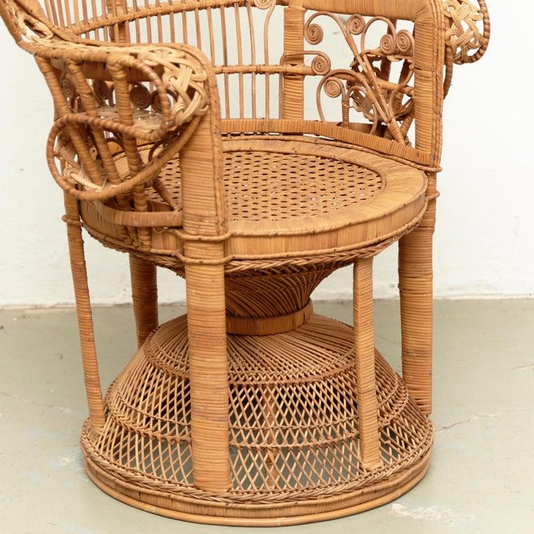 Mid-Century Modern Large Emmanuelle Wicker Rattan Midcentury Peacock Armchair For Sale 7