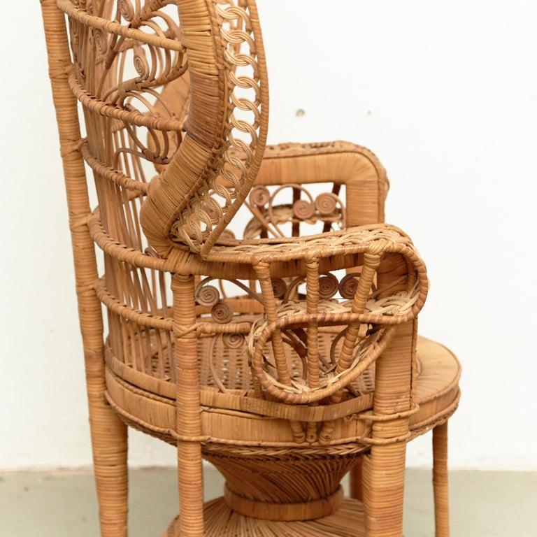 Mid-Century Modern Large Emmanuelle Wicker Rattan Midcentury Peacock Armchair For Sale 9
