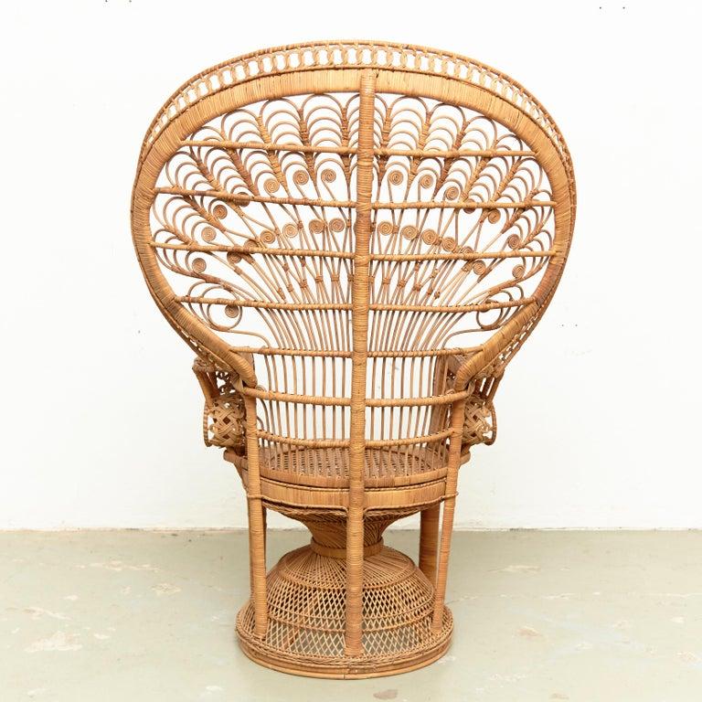 Mid-Century Modern Large Emmanuelle Wicker Rattan Midcentury Peacock Armchair For Sale 11