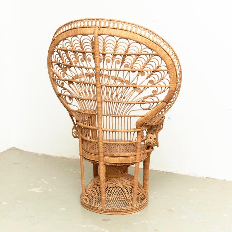 Mid-Century Modern Large Emmanuelle Wicker Rattan Midcentury Peacock Armchair For Sale 12