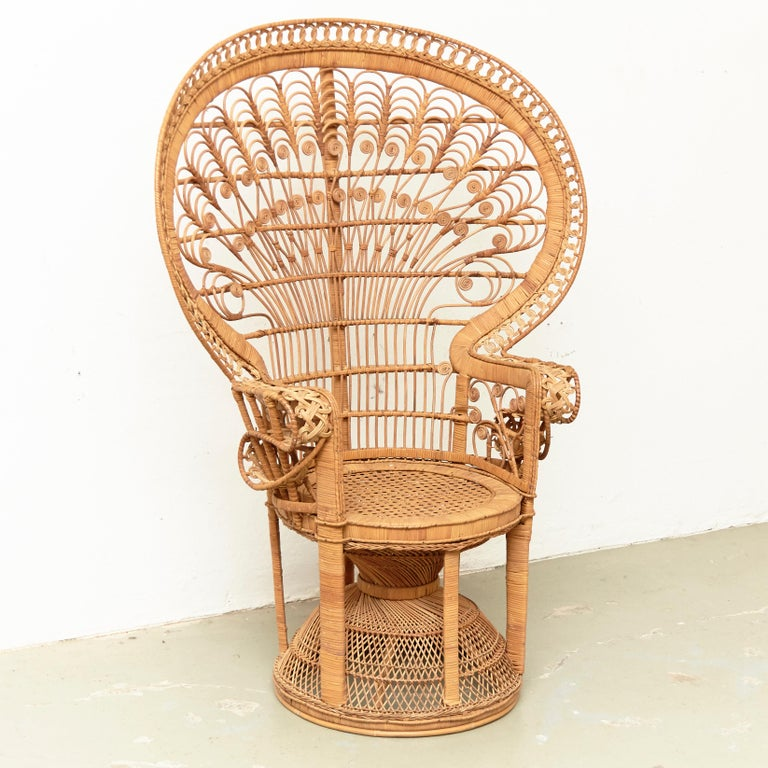 Mid-Century Modern Large Emmanuelle Wicker Rattan Midcentury Peacock Armchair In Good Condition For Sale In Barcelona, Barcelona
