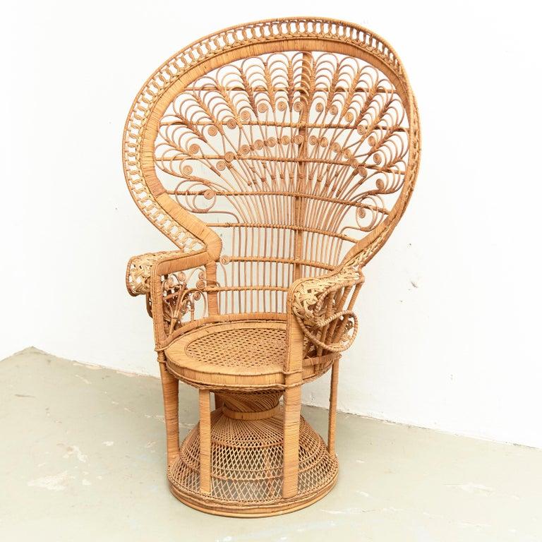 Mid-20th Century Mid-Century Modern Large Emmanuelle Wicker Rattan Midcentury Peacock Armchair For Sale