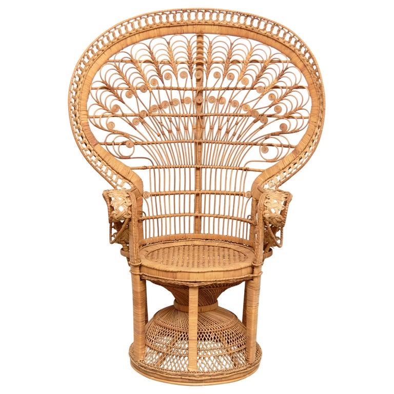 Mid-Century Modern Large Emmanuelle Wicker Rattan Midcentury Peacock Armchair For Sale