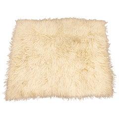 Mid-Century Modern Large Flokati Shag Handwoven Wool Area Rug Carpet, 1970s